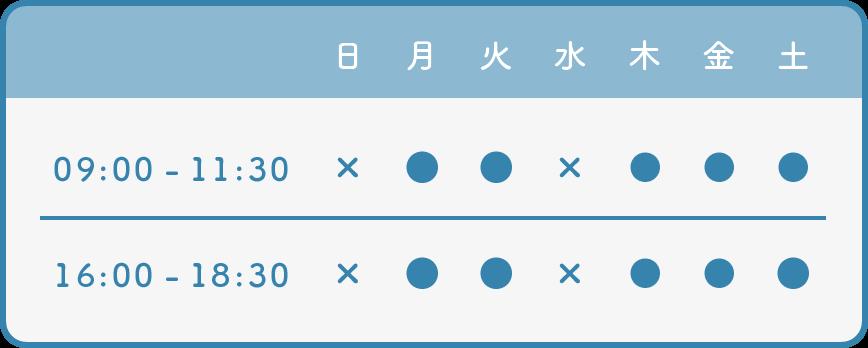 安中動物病院の診療時間・休診日(表)