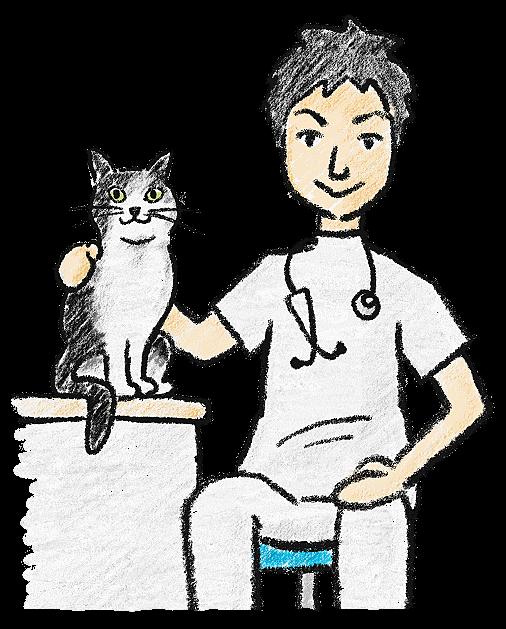 院長と猫のイラスト